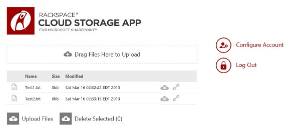 Connect SharePoint 2013 To Cloud Files With New Rackspace